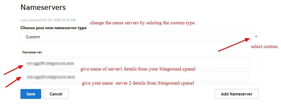 changing-nameserver-of-Godaddy-to-Siteground